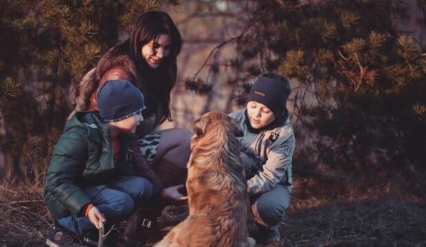 Børn leger med hund udenfor