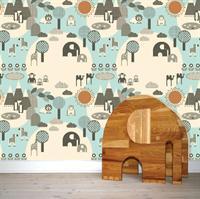tapet-boernevaerelset-elefanter-blaa